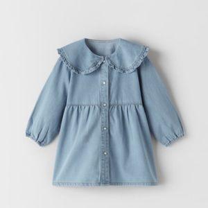 NWT Zara 2-3Y denim dress with Peter Pan collar